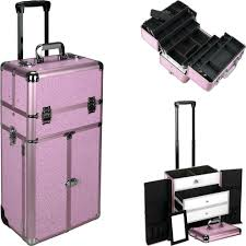 dels about 2 in 1 pro artist rolling makeup case organizer with drawers and trays i3466