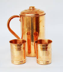 copper water4 pitcher jug 8 glasses set for drinking water indian ayurveda by dorpmarket com
