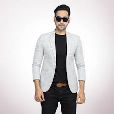 Balzer Designs For Man Off White Fancy Check Sp Tr Blazer For Men