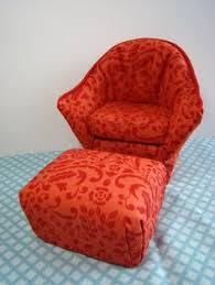 barbie furniture diy. Barbie Furniture - Orange And Red Print Arm Chair W Matching Ottoman Diy