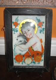 antique 19th c reverse painting on glass continental st john the baptist