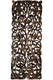 floral tropical carved wood wall art panel rustic home decor teak wood headboard  on dark brown metal wall art with floral tropical carved wood wall art panel rustic home decor teak