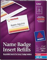 Avery Nametag Avery Name Badge Inserts 5392