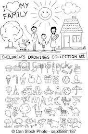 Famiglia Illustrazione Mano Bambino Disegno Felice Vettore