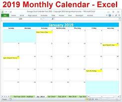 Monthly Excel Calendar Template 2019 Davidhdz Co