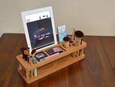 makeup organizer wood. items similar to beauty station / wood makeup organizer holder ipad stand desk lipstick iphone on etsy, a global handmade b