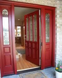 entry retractable screen door red