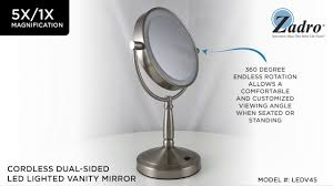zadro cordless dualsided led lighted vanity mirror 5x1x ledv45 cordless lighted makeup mirror u41