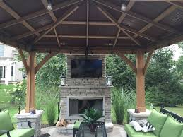covered patio with fireplace tv outdoor kitchen