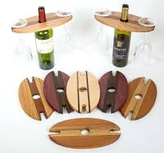 wine bottle and glass holder picnic stakes set reclaimed wood