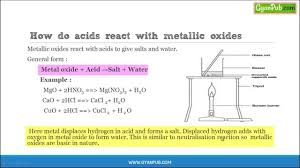how acids react with metallic oxides cbse class 10 chemistry notes you