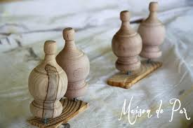 tip s or finials into s wood before staining or painting to get an