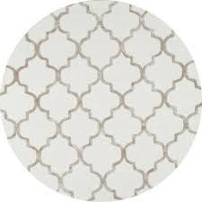 6 x 6 feet round area rug park avenue trellis nickel felt back pad hand