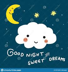 good night and sweet dreams cloud cartoon vector doodle ilration