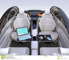 Auto Mobile Office Autonomous Car Interior Stock Illustration Illustration Of