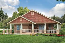 image of single level home with wrap around porch house plans