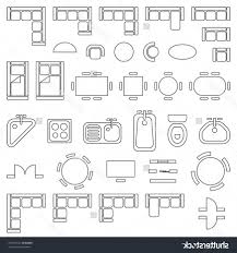 floor plan furniture symbols. Standard Furniture Symbols Used In Architecture Plans Icons Set Floor Plan Vector