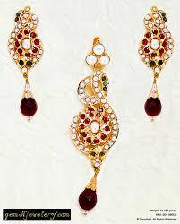 pearl emerald ruby indian gold royal jadau pendant set