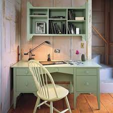 cottage office. Cottage Home Office Design Style With Painted Green Bookcase And Desk , T