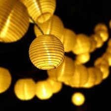 solar lanterns string lights 30 led fabric ball fairy lighting decor for outdoor indoor garden patio