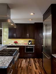 Kitchen With Wood Floors To Add Contrast To The Dark Contemporary Wood Cabinets Beautiful
