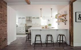 White decorating for small kitchen with peninsula ...