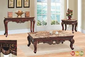Piece Living Room Coffee End Table Set W Marble Tops