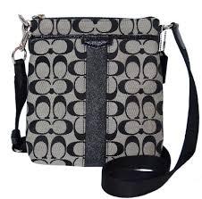 Coach Signature Stripe 12CM N S Swing-pack Cross-body Bag - Black