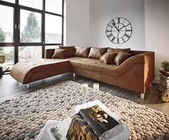 Delife Couch Cadiz Braun 261x204 Antik Optik Gerundete Form