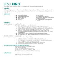 Yoga Instructor Resume Sample