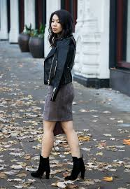 suede skirt faux leather moto jacket suede booties fall outfit petite fashion blog
