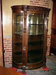 antique curio cabinets with curved glass oak curio cabinets with curved glass antique curved glass curio