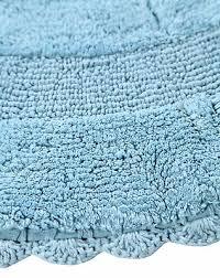 bath rug cotton 36 inch round reversible arctic blue crochet lace border