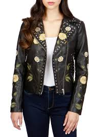 lucky brand embroidered motorcycle jacket 001 women s clothing coats jackets