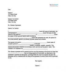 alimony agreement letter child support agreement letter