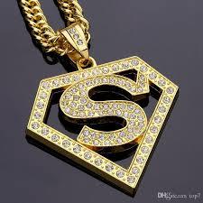 whole 2018 diamond superman hip hop pendant necklace street hip hop jewelry for men women hiphop gold silver plated owl pendant necklace silver heart