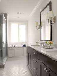 white bathroom cabinets gray walls. bathrooms - gray walls espresso stained double bathroom vanity marble countertop black beveled mirror wood paneled drop\u003din tub seamless glass shower vintage white cabinets