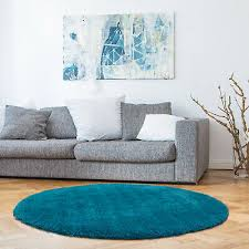 teal turquoise aqua blue round gy floor rug thick soft plush carpet 120cm