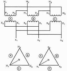 three phase transformers 3 Phase Transformer Diagram 1 internal connections determine zero degree angular displacement 3 phase transformer connection diagrams