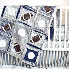 boy sports crib bedding custom football crib bedding for baby boy features navy blue and gray