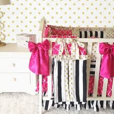 black and white stripe with gold crib sets for girls fancy over the top crib bedding