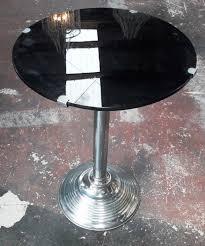 art deco coffee table w black glass top round dia 0 36m h 0 48m