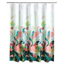 details about celebrate summer tropical fabric shower curtain pink flamingo palm leaves new