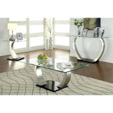 furniture of 3 piece coffee table set in satin plated woodrow brown flaring pedestal
