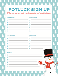 Pot Luck Sign Up Sheet Template Word Business Form Letter
