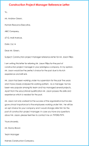 Letter Of Recommendation For Project Manager Letter Recommendation Of For Construction Projectr Ms In Computer
