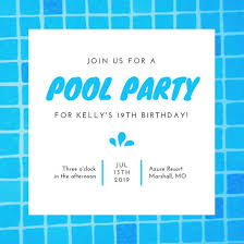 Turquoise Illustrated Pool Party Invitation - Templates By Canva
