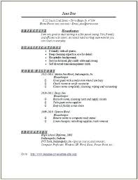 Housekeeping Resume Example Resume For Housekeeping Job Free For