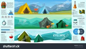 Camping Infographics. A set of external elements. Camping gear collection.  The tent,