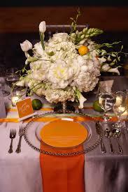Orange And White Wedding Reception Seating Arrangement